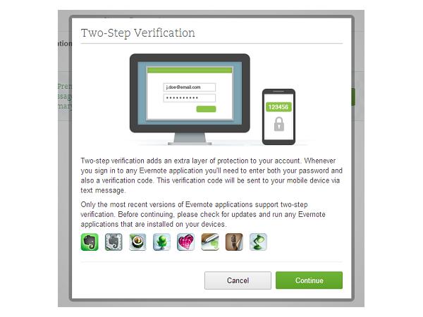 Evernote 對所有用戶提供「兩步驟帳戶驗證」提升安全性,設定步驟看這邊