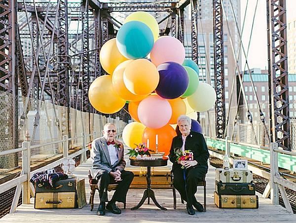 銀髮夫妻61周年結婚紀念寫真 ,溫馨再現天外奇蹟場景