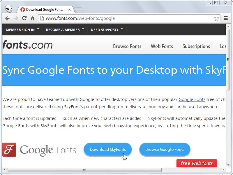 用 SkyFonts 自動下載 Google 字型