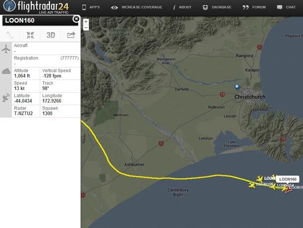 飛機追蹤網站 Flightradar24 可以追蹤 Google 氣球