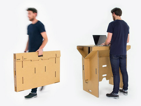 想要隨處都可站著工作?試試紙做的可攜式站立工作台