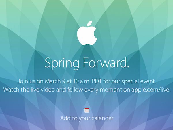 Apple 將在3月9號舉辦特別活動,Apple Watch 正式登場