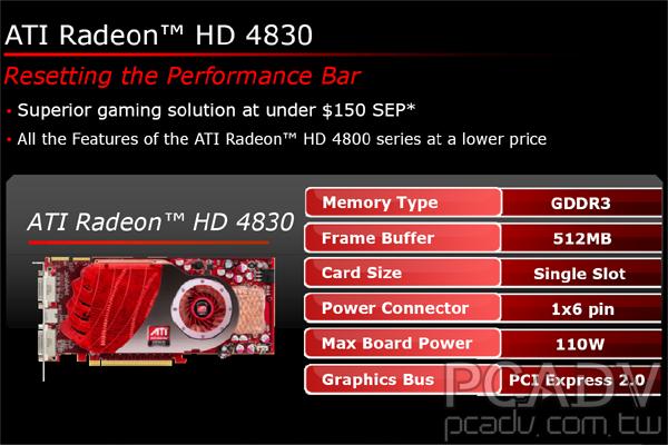 ATI發布Radeon HD 4830