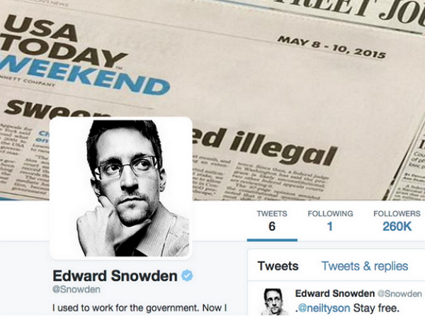 流亡俄羅斯的史諾登申請了 Twitter 帳號,第一件事是先關注恨他入骨的NSA