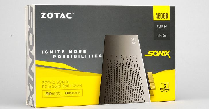 PCIe 3.0 x4 NVMe 規格設計,Zotac Sonix PCIE 480GB SSD 實測