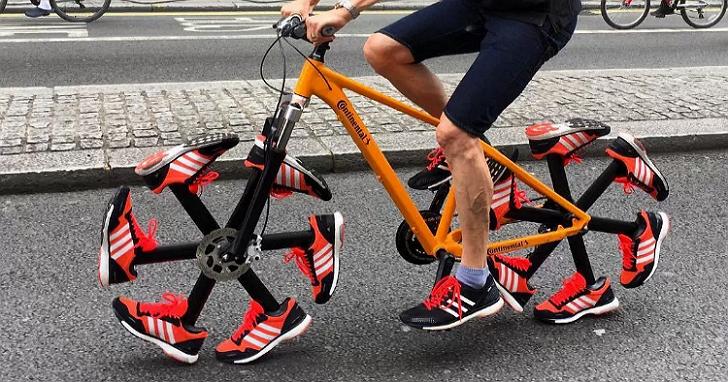 這台自行車不掛輪胎掛跑鞋,而且還真的可以跑!