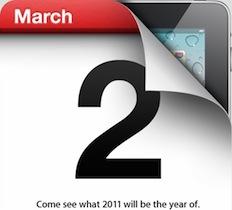 Apple 將於3月2日舉行 iPad 2 event