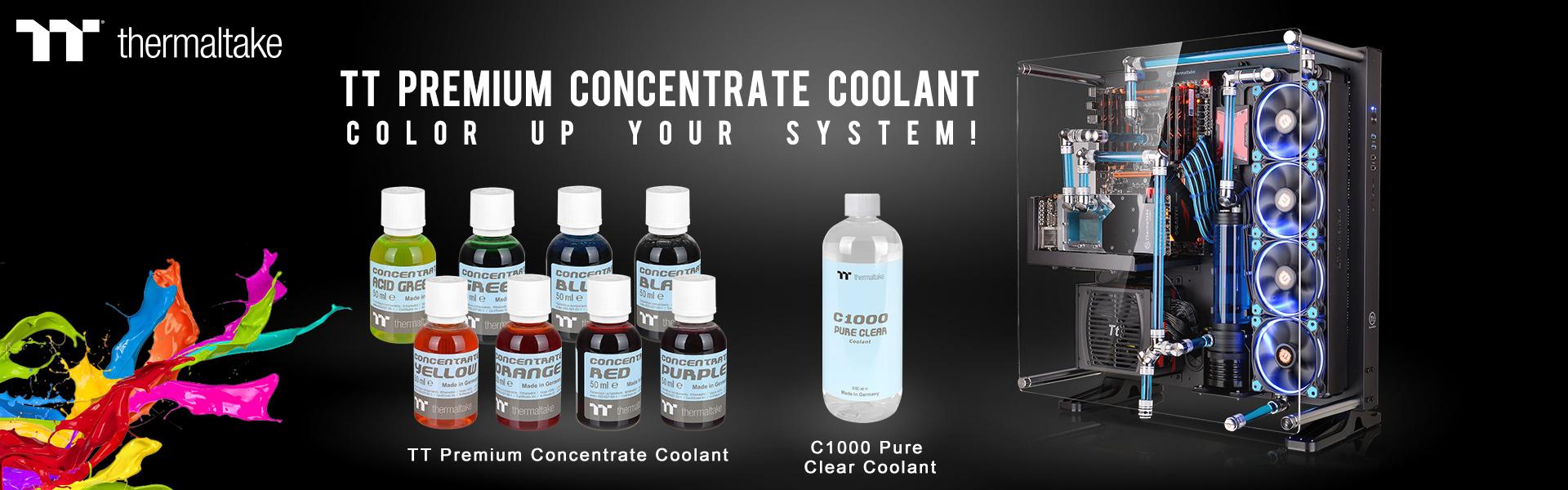 曜越TT Premium Concentrate水冷濃縮液系列及C1000透明水冷液,全新選擇、自由調配,打造流光溢彩的水冷散熱系統!