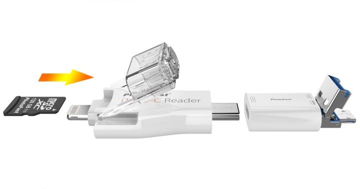 結合 USB-C、Lightning、microSD、micro USB 四種傳輸埠於一身:PhotoFast iType-C Reader