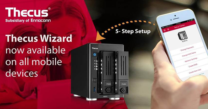 Thecus® 推出最新設定精靈 APP - Thecus Wizard™ 支援所有行動裝置,透過手機即可方便、快速設定您的網路儲存設置