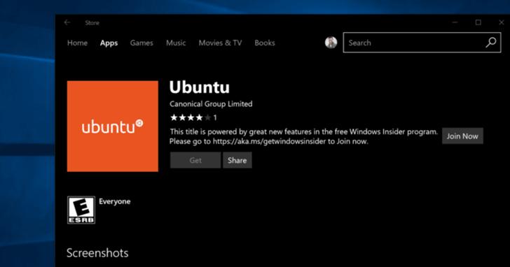 Ubuntu 來了!現在你能直接從 Windows 10 商店中下載Ubuntu 子系統搶先版