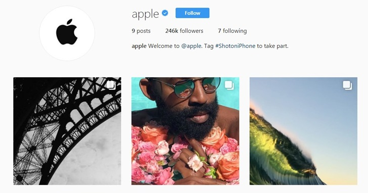 蘋果官方 Instagram 帳號上線,用來宣傳 iPhone 的照相功能