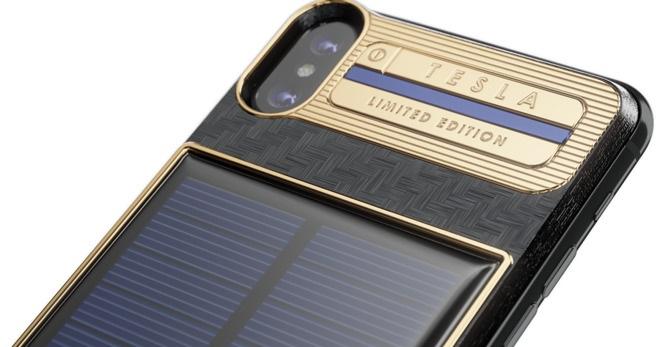 最貴的iPhone保護殼:機背999純金、內建太陽能充電板的 iPhone X「Tesla」售 14 萬台幣