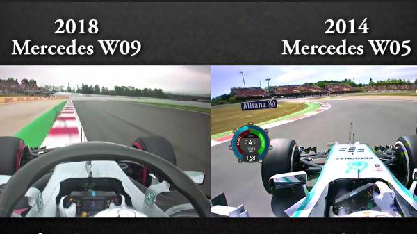 【影片】2014 vs 2018 的 F1 賽車速度能夠差多少?畫面會說話!