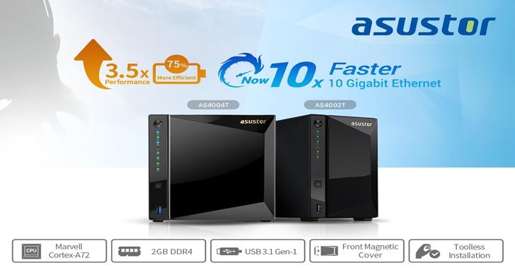 延伸家庭 10G 儲存應用,華芸科技推出全球首款 Marvell  Cortex-A72 NAS AS4002T及 AS4004T