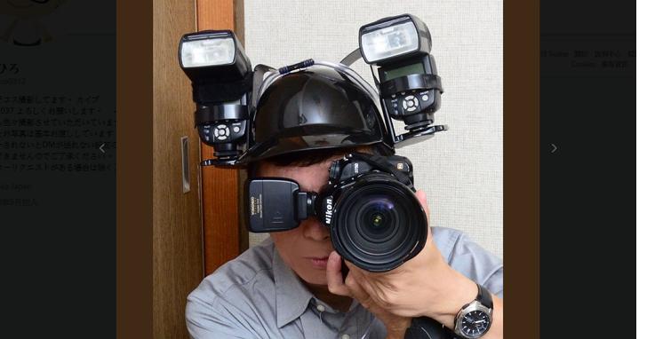 叫他攝影王!日本網友自製雙閃燈頭盔,拍照外閃不求人