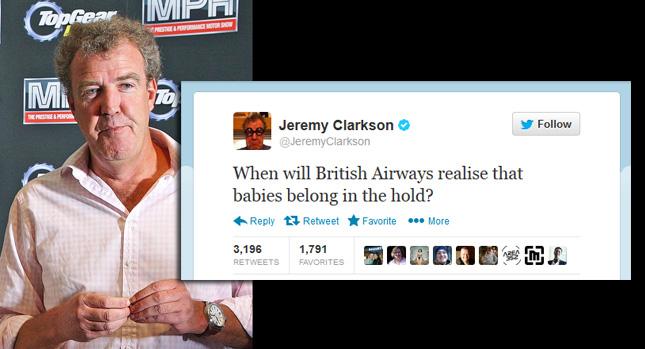 Top Gear的 Jeremy Clarkson又語出驚人:嬰兒應該放在飛機貨艙裡!