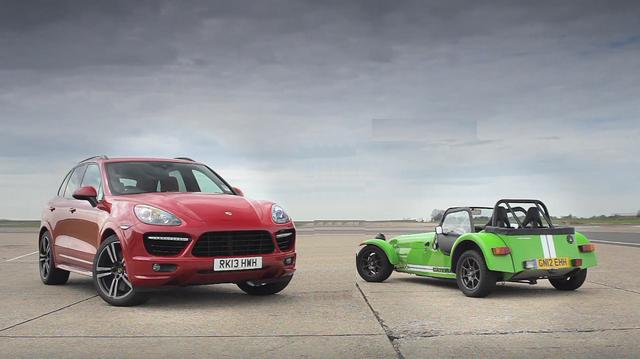 小蝦米對大鯨魚!Caterham 7 Supersport ╳ Porsche Cayenne Turbo S【集評影片】