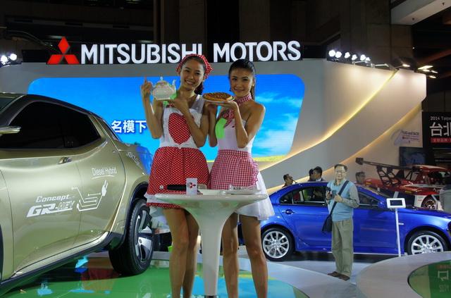 【2014台北車展】車展倒數計時 MITSUBISHI搶攻人潮:名模下午茶開幕