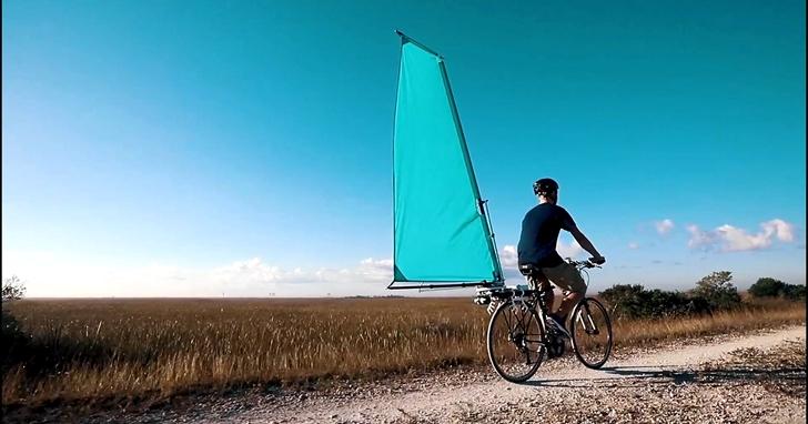 船帆並不稀奇,但你見過安裝在自行車上的「帆」嗎?