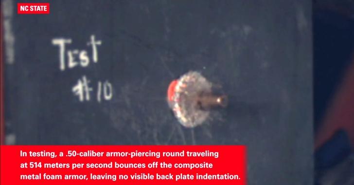 防彈泡沫金屬效果和傳統裝甲相當但重量只有一半,可以使軍用車輛更輕更高效