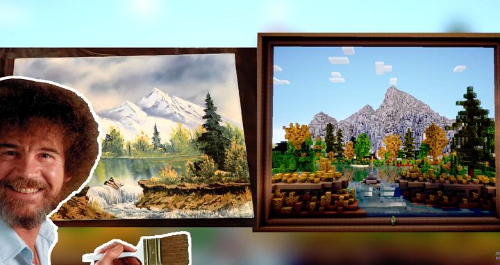 重現 Bob Ross《歡樂畫室》中的那幅畫...有人用《Minecraft》辦到了!