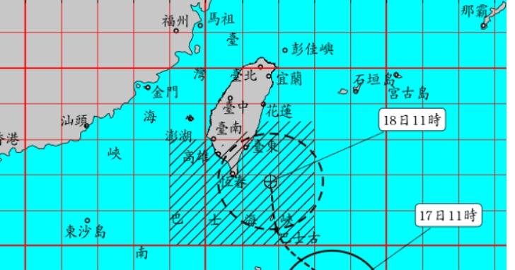 氣象局已針對輕颱丹娜絲發布陸上颱風警報,預計影響全台至週五