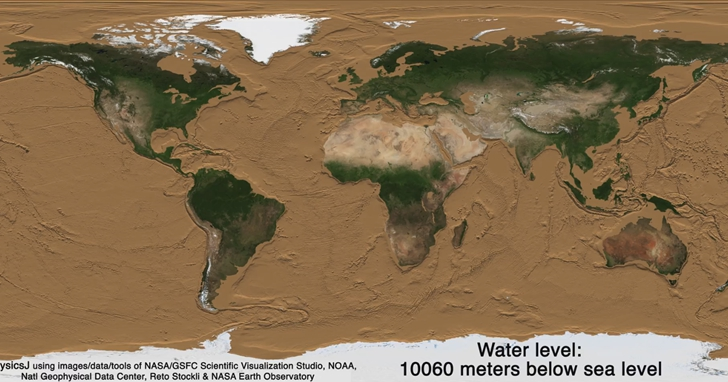 51秒動畫讓你看看把海水抽乾後,地球長什麼樣?