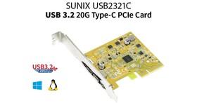 Sunix推出USB 3.2 Gen 2x2擴充卡,解放20Gbps超高頻寬