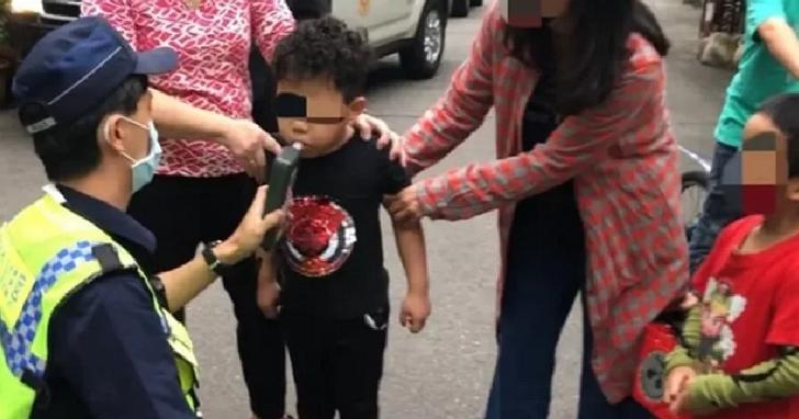 台中五歲兒童騎單車撞特斯拉,警察到場後依法對兒童酒測引發議論