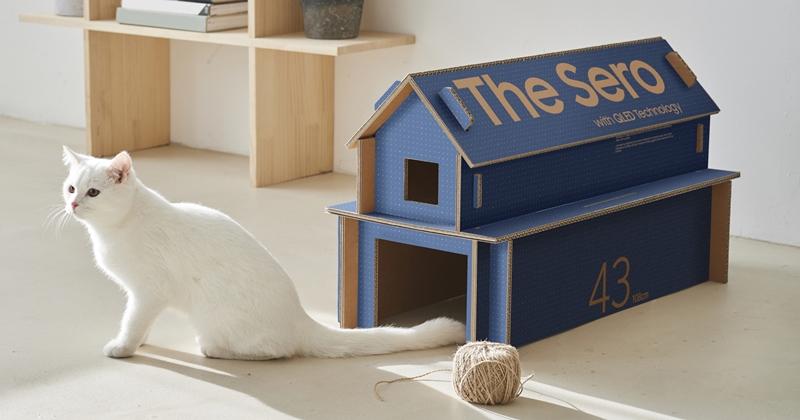 三星將改造電視包裝紙箱,收到可以把紙箱改造成喵屋或茶几