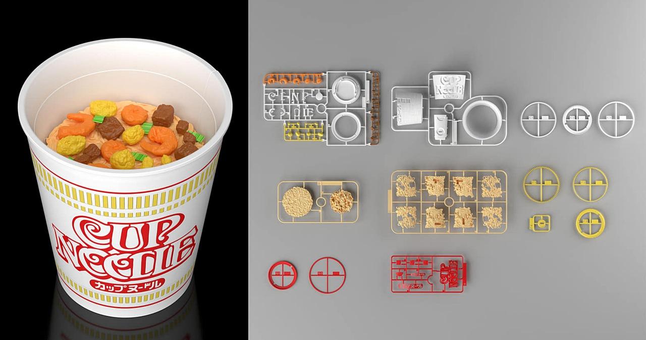 萬代模型沒有極限,BANDAI推出1:1日清杯麵組裝模型,一組可以買14碗杯麵