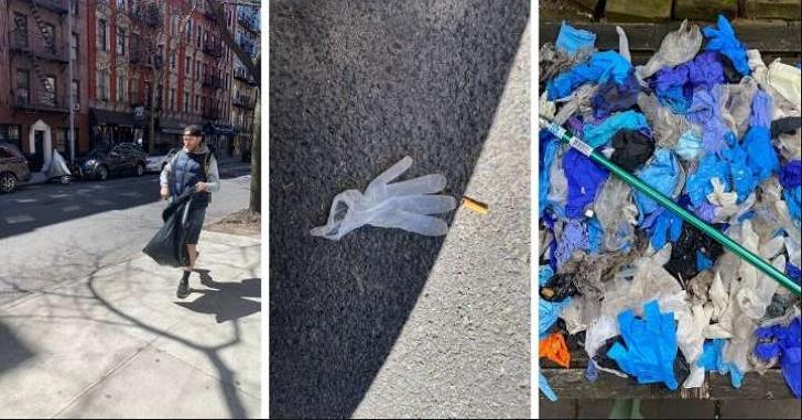 隨地亂丟口罩手套危害公共衛生,已經成為紐約客的日常