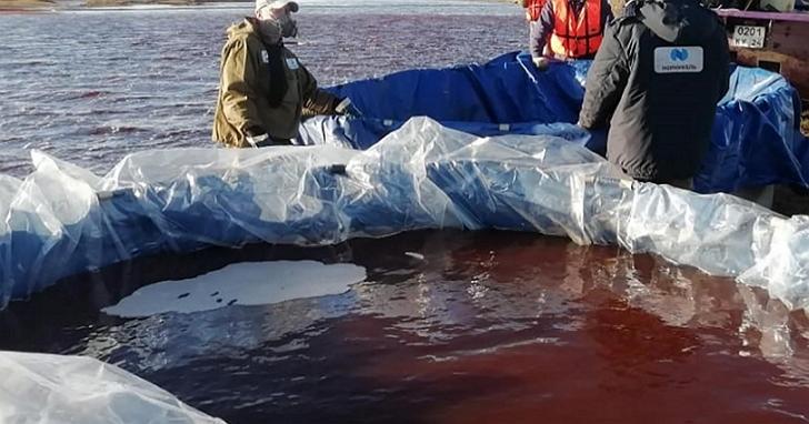 俄羅斯爆發北極圈史上第二大漏油事件,21000噸柴油污染將整片河道變血紅