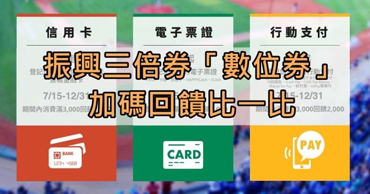振興三倍券綁定信用卡、電子票證或行動支付,哪種「數位券」加碼回饋最划算?