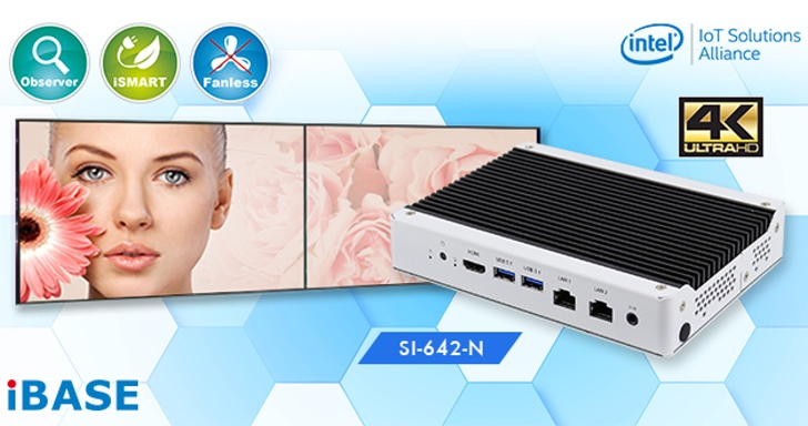 Ibase SI-642-N無風扇工業用電腦,瞄準4K數位看板應用