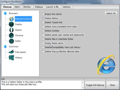 讓電腦在關機前自動刪除瀏覽器或系統的暫存檔案