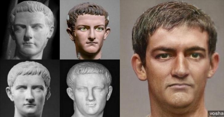 利用AI和Photoshop,他從雕像中將54位古羅馬皇帝的真實面貌還原出來