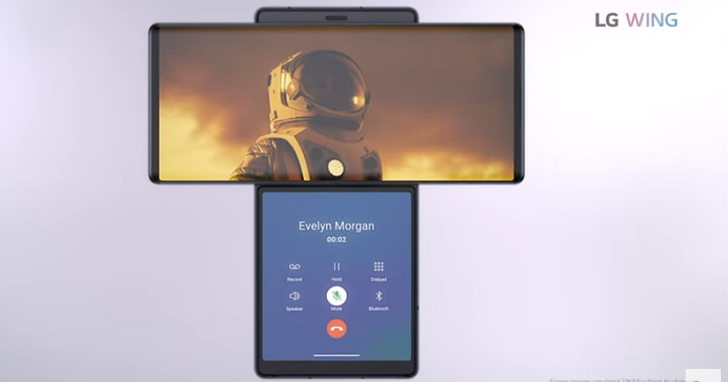LG WING 旋轉式雙螢幕手機,轉出多變新玩法