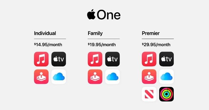 蘋果推出 Apple One 服務綑綁包:個人與家庭方案、一次訂閱享四種服務,每月 315 元起