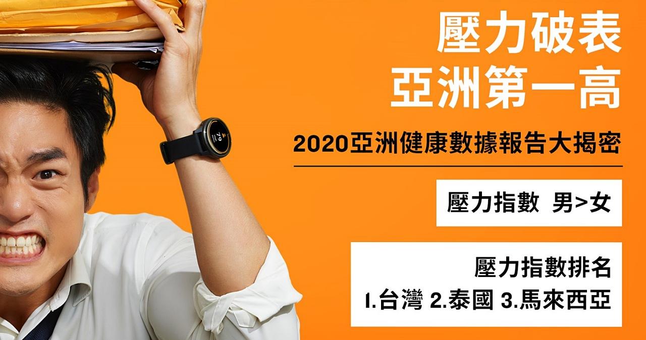 台灣中年男壓力亞洲最高!Garmin 公布 2020 亞洲用戶健康數據報告