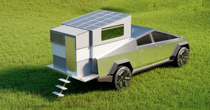 把 Tesla Cybertruck 改裝成露營車很簡單,把這間房子裝進後車廂就行了!