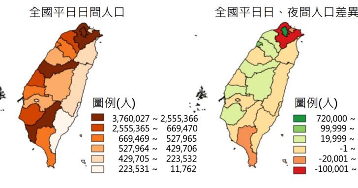 內政部首度和電信業者合作人流統計,台北白天比晚上多 72 萬人、宜蘭假日增 2.7 萬人