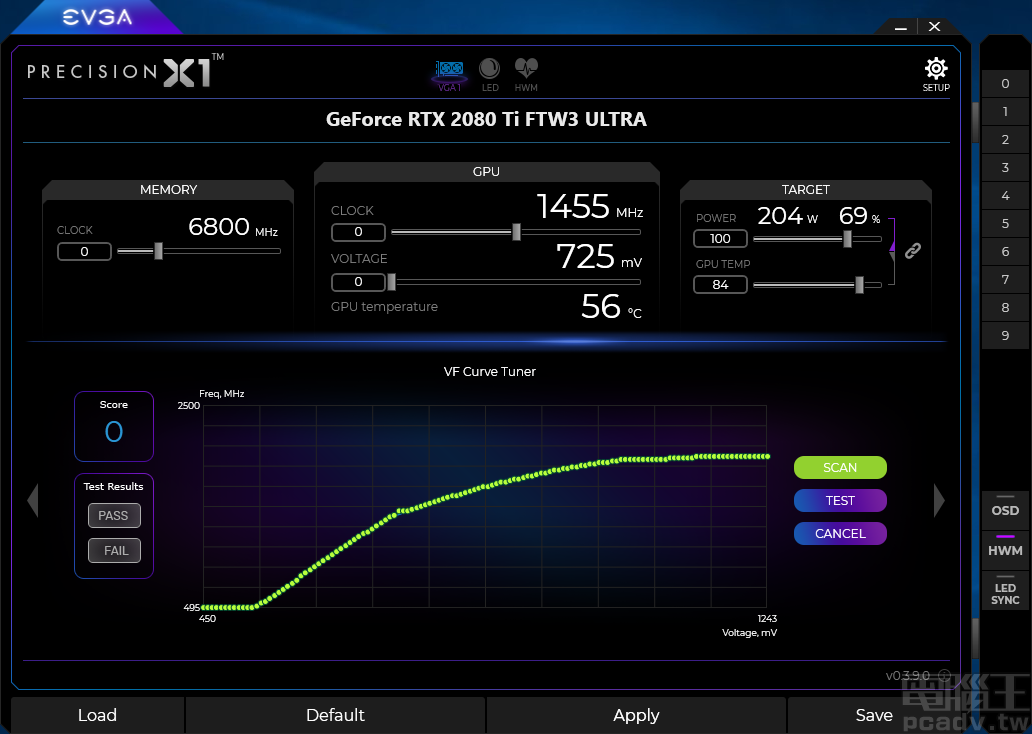 VF Curve Tuner 能够调整每个电压值相对应 GPU 时脉,按下 Scan 按钮,便可自动化找寻最高稳定运作时脉