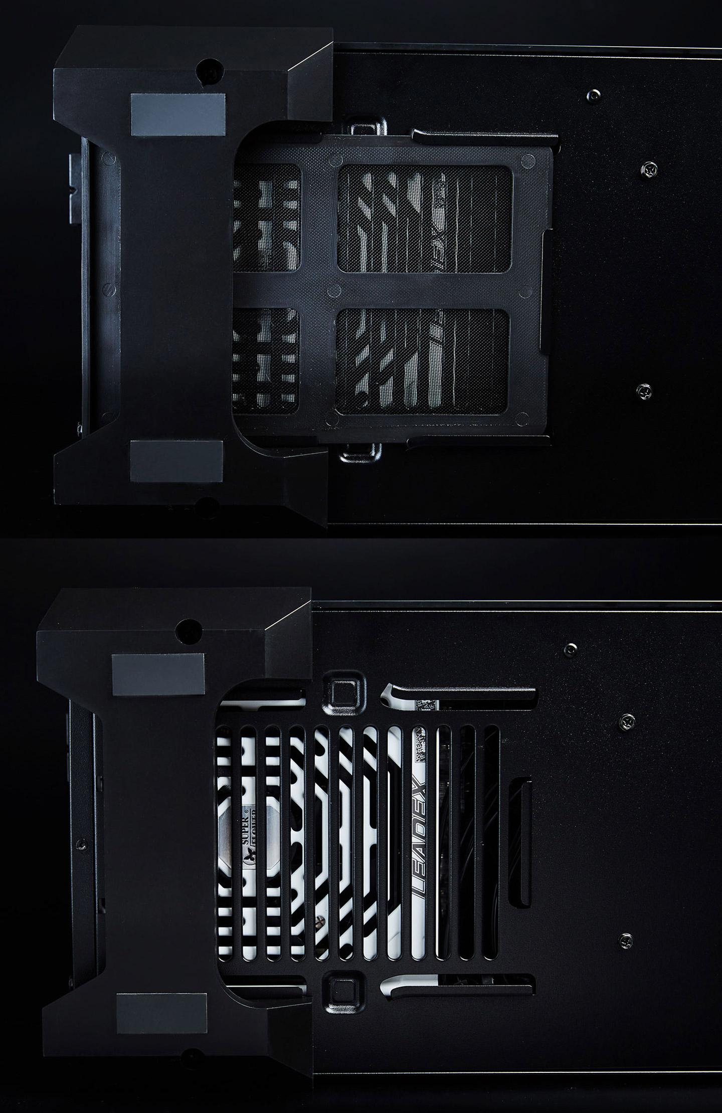 原廠在機殼底部也細心地加上了進氣口的外部濾網,可以有效降低電源供應器內部進塵的狀態,大幅減少對散熱造成的影響。