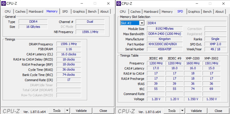 在記憶體資訊方面,可看到採用的是 16GB DDR4 雙通道架構,製造廠商為 Kingston。