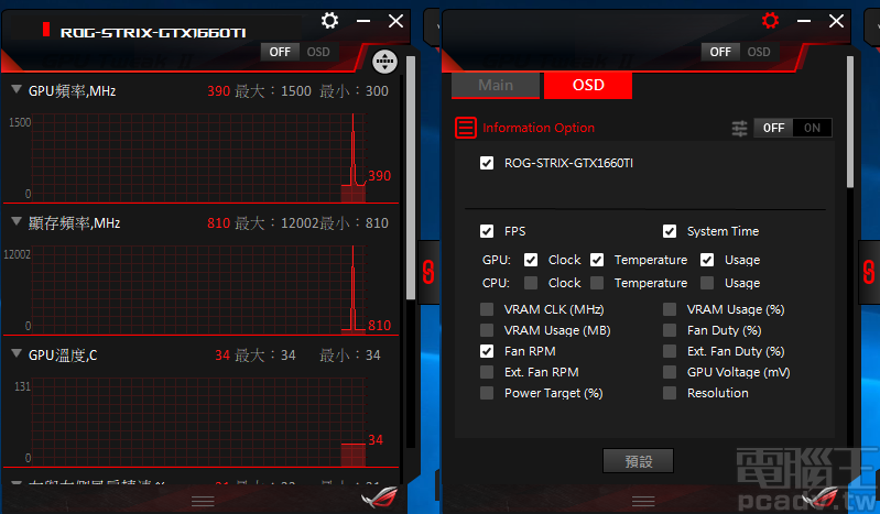 GPU Tweak II 支援監控 OSD 功能