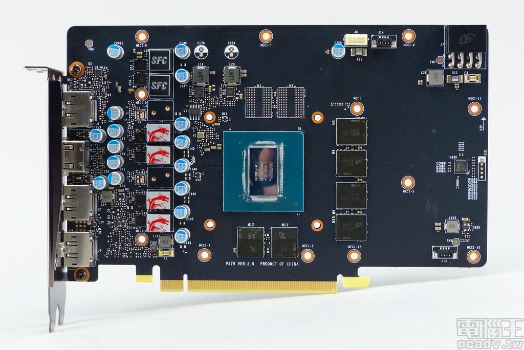 GeForce GTX 1660 Gaming X 6G 電路板�面一覽,右側留有不少的空白