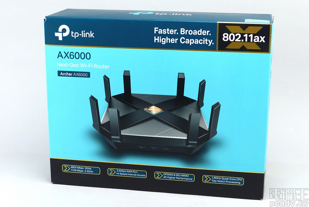 ▲ TP-Link 以 Archer AX6000 作為自家首款支援 Wi-Fi 6/802.11ax 規格的無線網路路由器,2.4GHz 和 5GHz 均支援 4 空間流規格。