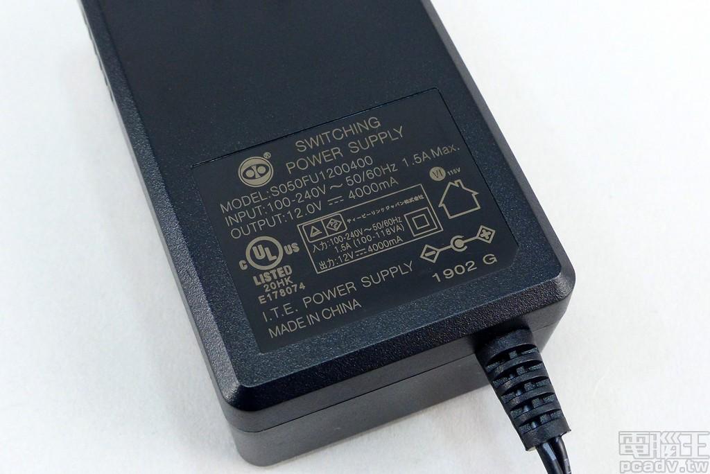 ▲ 供電變壓器輸出功率為 12V/4A/48W,能源效率達 VI 級。